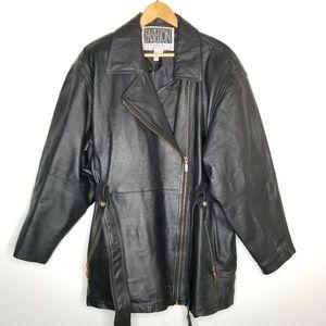 Vintage Leather Jacket Belted 2X Fashion Elements